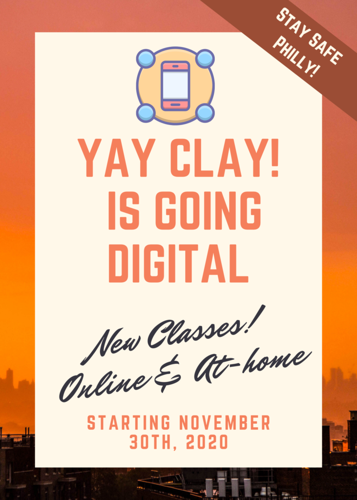 "Announcement popup stating ""Yay Clay is going digital! New classes online & at-home classes will be starting November 30th 2020"""